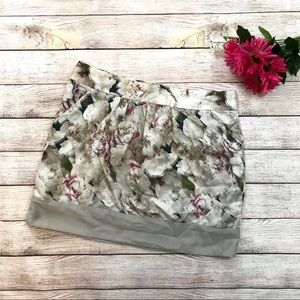 Gap Silky Floral Mini Skirt Purple and Gray 8
